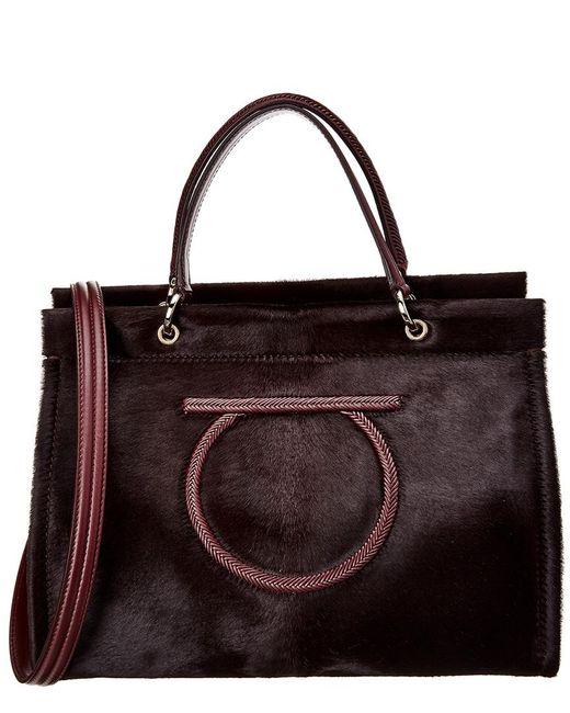 Ferragamo - Red Gancini Haircalf Shoulder Bag - Lyst
