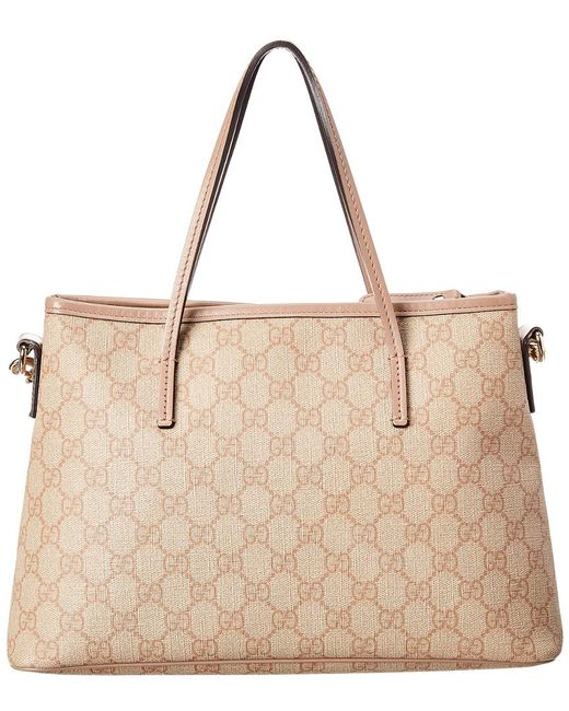 c3bbff40896d ... Lyst Gucci - Multicolor Pink GG Supreme Canvas & Leather Tote ...
