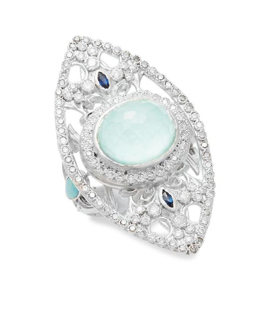 Armenta | Metallic New World Reconstituted Green Turquoise, Opal, Sapphire, Diamond & Sterling Silver Ring | Lyst