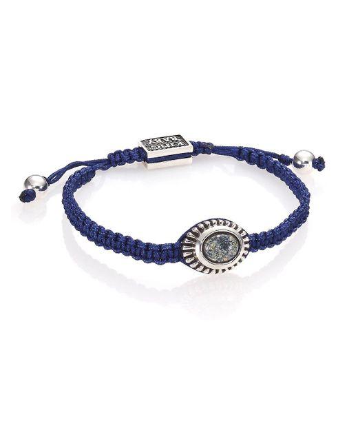 King Baby Studio - Blue Turquoise & Sterling Silver Macramé Slide Bracelet - Lyst