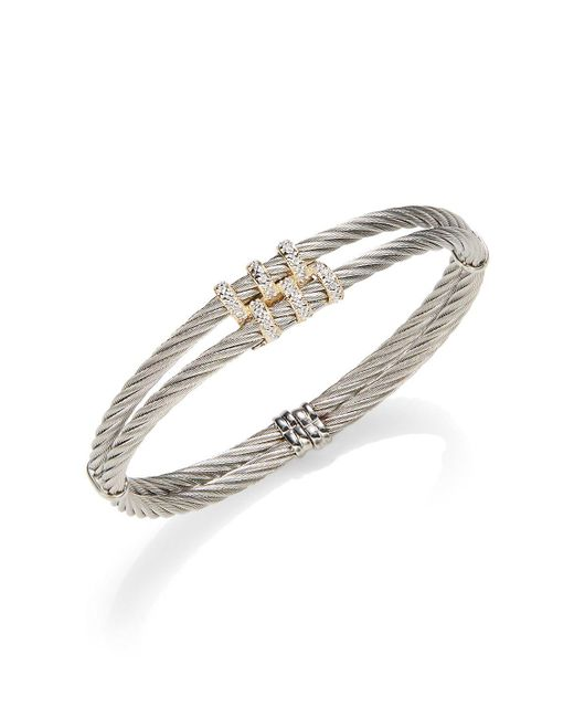 Alor - Metallic Classique Diamond & 18k Yellow Gold Double Cable Bracelet - Lyst
