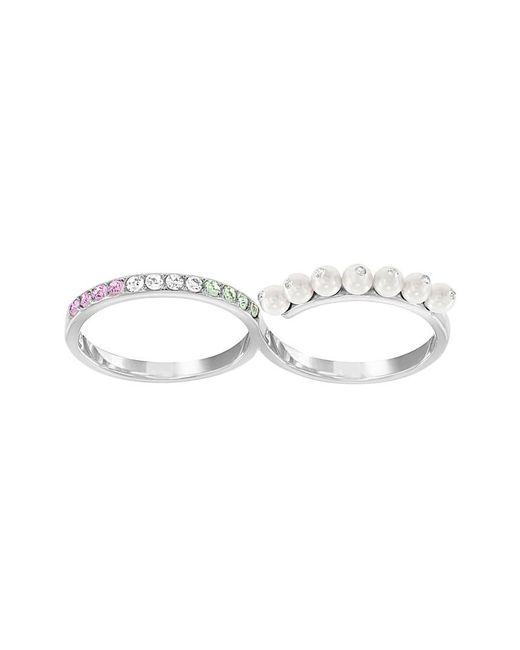 Swarovski - Metallic Double Calista Ring - Size 7 - Lyst