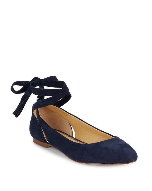 Splendid - Blue Jerrie Suede Lace-up Flats - Lyst