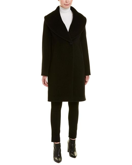 Cinzia Rocca Black Shawl Alpaca & Wool-blend Coat