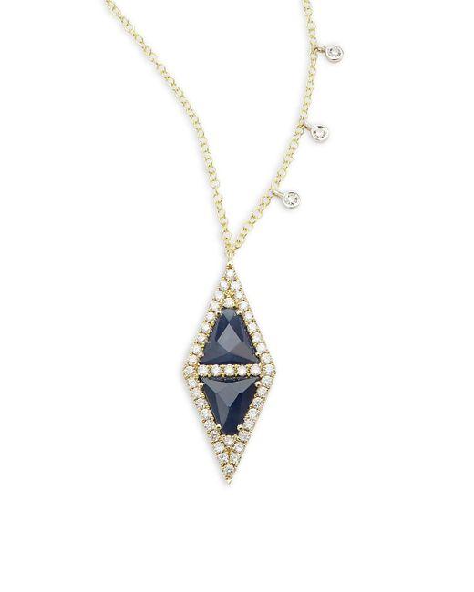 Meira T   Metallic Diamond, Blue Sapphire & 14k Yellow Gold Pendant Necklace   Lyst