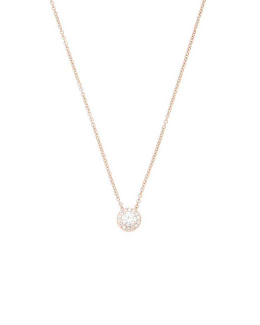 Nephora - Metallic 14k Rose Gold Solitaire Pendant With Pave Outline - Lyst