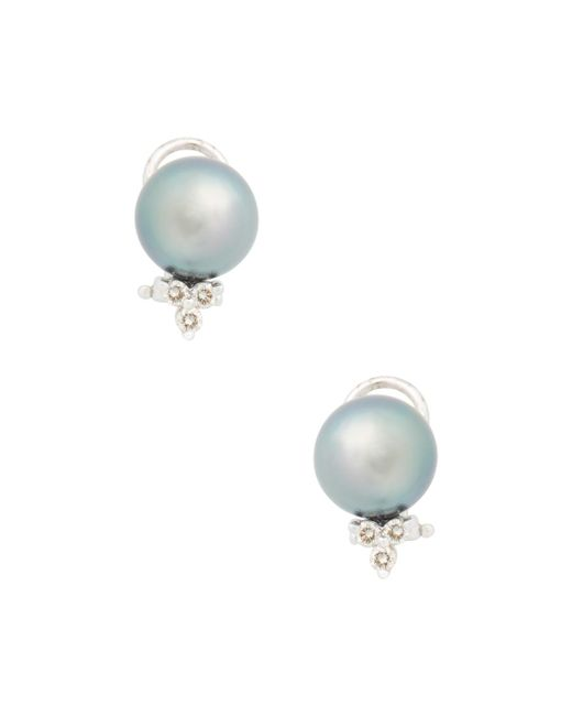 Belpearl | Multicolor 14k White Gold, Tahitian Pearl & 0.30 Total Ct. Diamond Earrings | Lyst