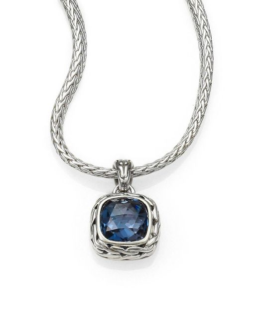 John Hardy - Blue Classic Chain Sterling Silver Small Square Pendant Necklace - Lyst