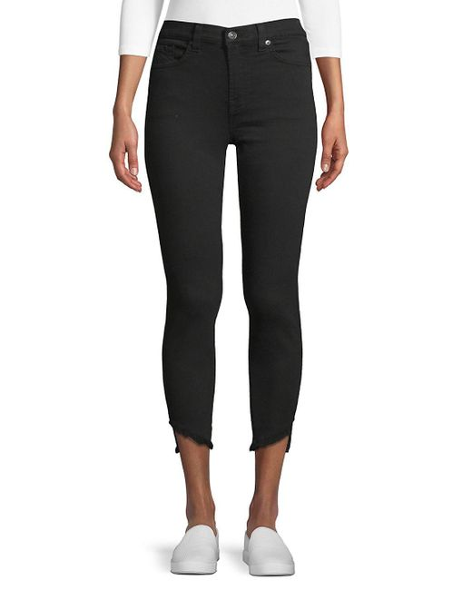 7 For All Mankind - Black Gwen Frayed Cuff Ankle Jeans - Lyst
