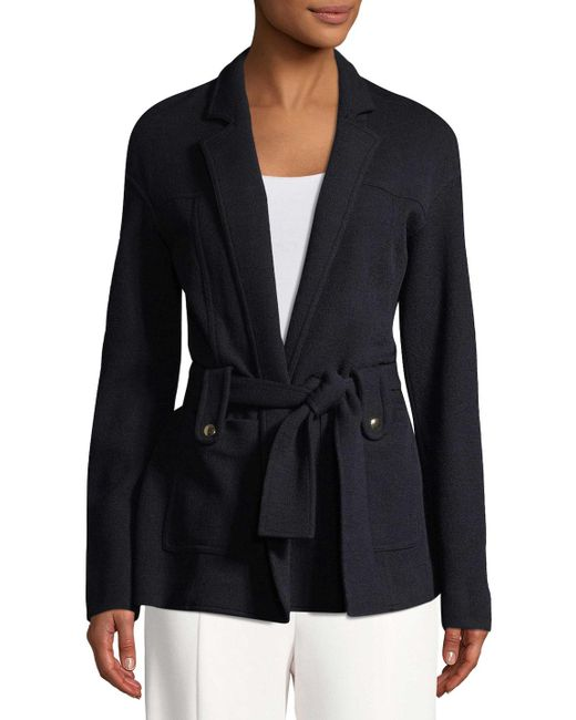 Derek Lam - Blue Belted Wool Cardigan Jacket - Lyst