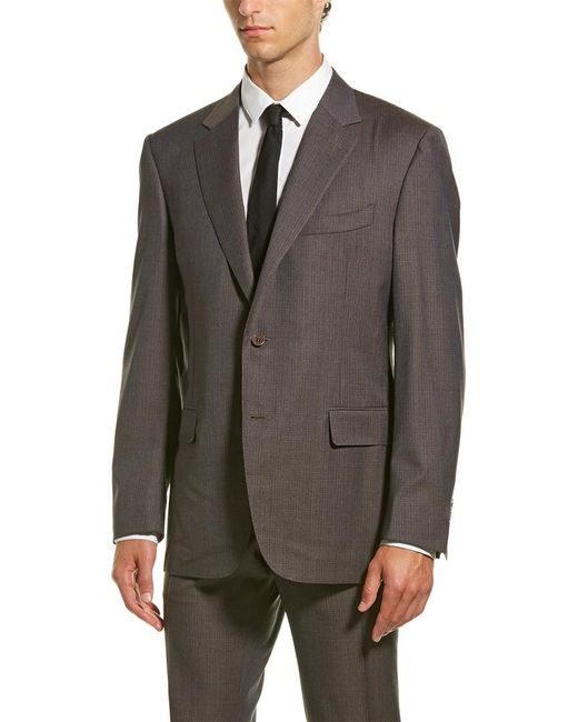 Canali Brown Wool Suit With Flat Front Pant for men