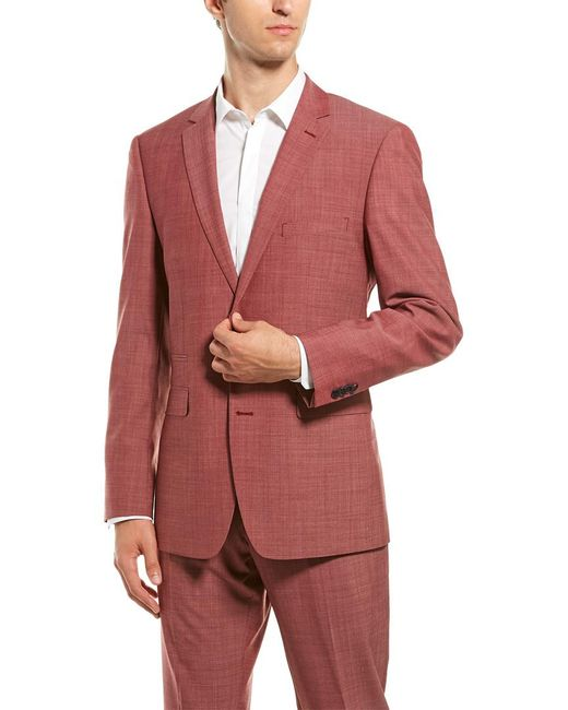 Vince Camuto Red Solid Two Button Notch Lapel Slim Fit Suit for men