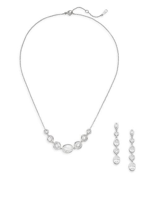 Adriana Orsini - Metallic White Stone Necklace & Earrings Gift Box Set/silvertone - Lyst