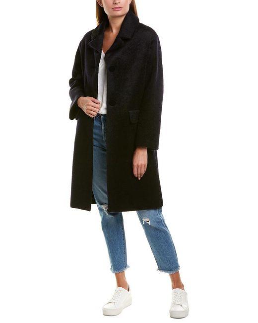 Maje Blue Fuzzy Wool-blend Coat
