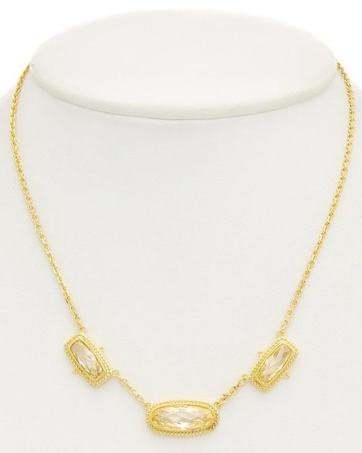 Judith Ripka - Metallic 14k Over Silver Cz Station Necklace - Lyst