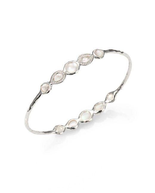 Ippolita - Metallic Stella Mother-of-pearl, Clear Quartz, Diamond & Sterling Silver Double Tiara Bangle Bracelet - Lyst