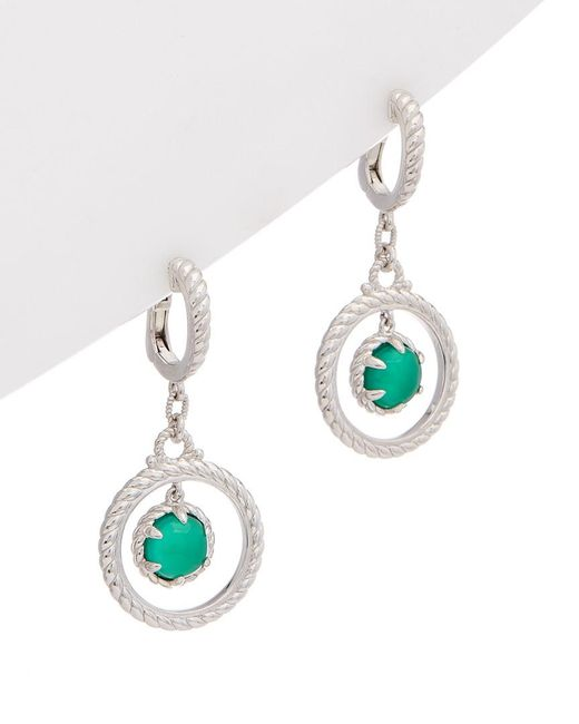 Judith Ripka - Classic Silver 3.20 Ct. Tw. Dyed Green Chalcedony & Crystal Drop Earrings - Lyst