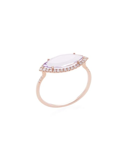 Meira T | Purple 14k Rose Gold, Amethyst & 0.18 Total Ct. Diamond Marquis Ring | Lyst