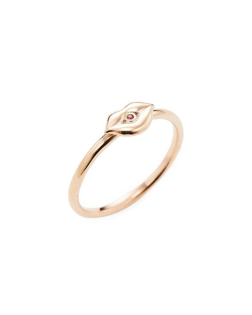 Sydney Evan - Metallic Rose Gold Lips Ring - Lyst
