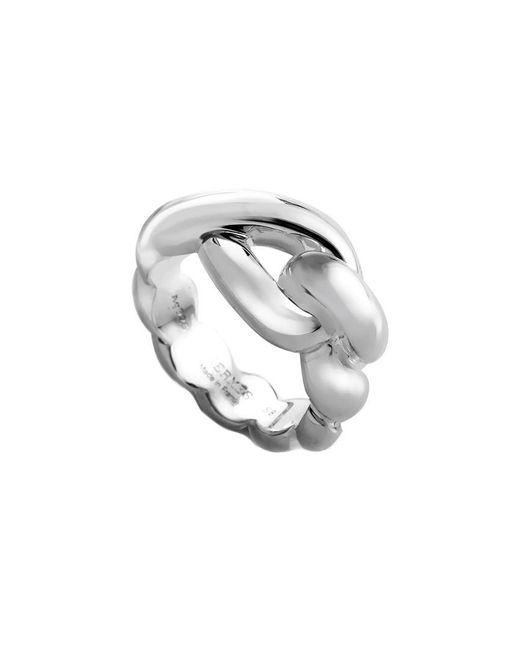 Hermès Metallic Twisted Silver Ring