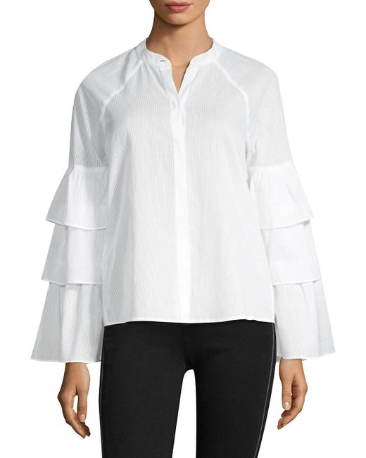 BCBGMAXAZRIA - White Tiered Ruffle Sleeve Blouse - Lyst
