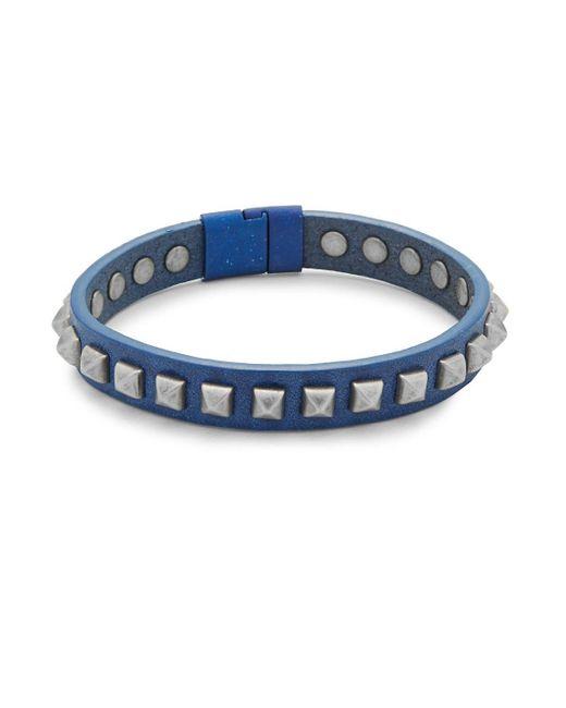 Tateossian - Blue Leather Pyramid Bracelet - Lyst