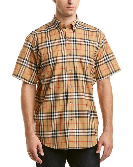 Burberry - Yellow Vintage Check Woven Shirt for Men - Lyst