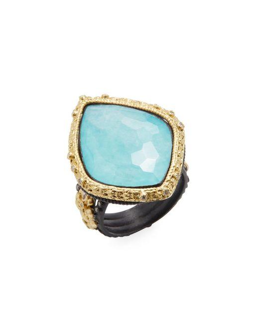 Armenta - Multicolor Old World 18k Gold, Turquoise, Moonstone & 0.28 Total Ct. Diamond Carved Kite Fleur De Lis Ring - Lyst