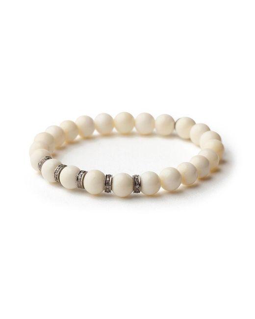 Sheryl Lowe - White Small Bone Pave Bracelet - Lyst