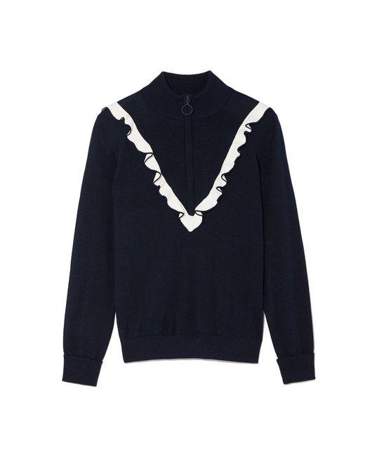Tory Sport - Blue Performance Cashmere Ruffle Half-zip Sweater - Lyst