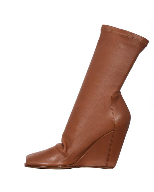 rick owens stretch wedge boots in brown lyst