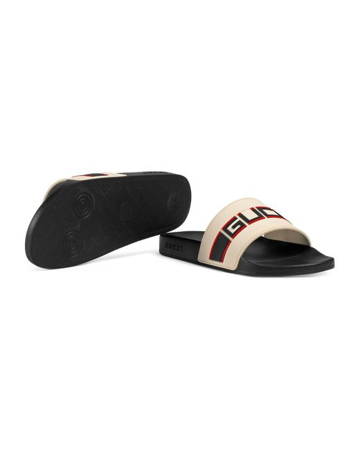 7d029241138 ... Gucci - Black Stripe Rubber Slide Sandal for Men - Lyst ...