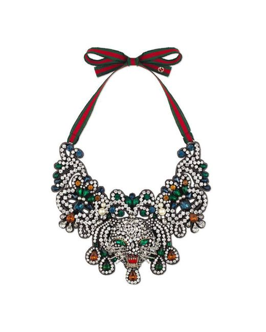 Gucci | Multicolor Crystal Cat Head Necklace | Lyst