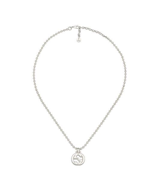 Gucci - Metallic Interlocking G Necklace In Silver - Lyst