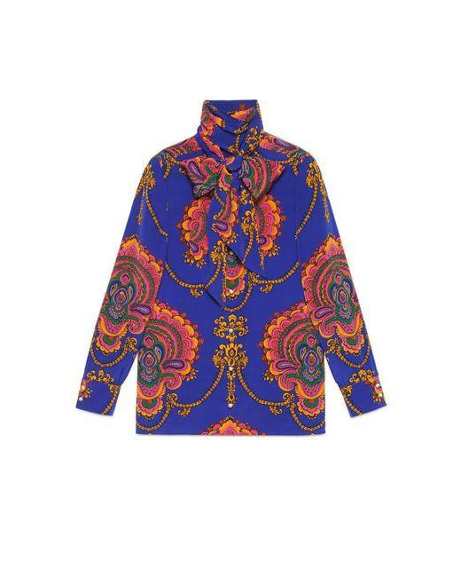 Gucci - Blue 70s Graphic Print Silk Shirt - Lyst