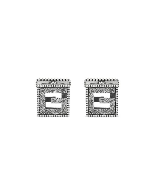Gucci - Metallic Cufflinks With Square G In Silver for Men - Lyst