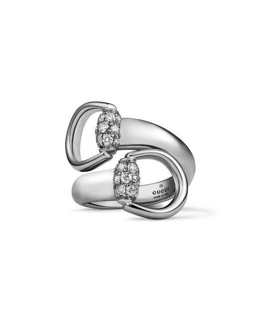 Gucci - Metallic White Gold Horsebit Ring - Lyst