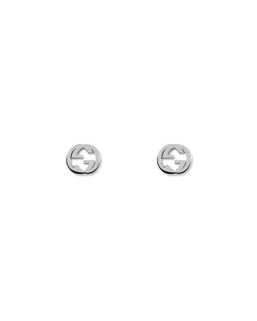 Gucci   Metallic Silver Interlocking G Earring   Lyst