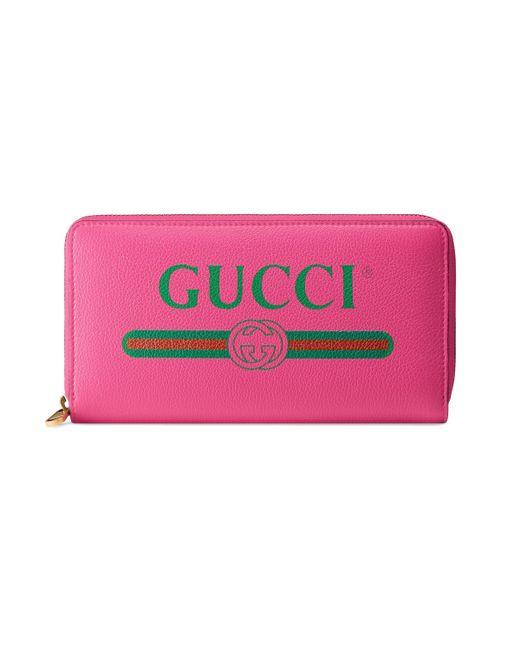 eb7d08b3f4b9 Gucci - Pink Logo Leather Zip Around Wallet - Lyst ...