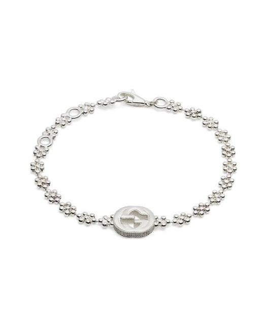 Gucci - Metallic Interlocking G Bracelet In Silver - Lyst
