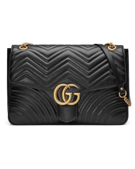 48520d708c Sac à épaule grande taille à motif GG Marmont Gucci en coloris Noir ...