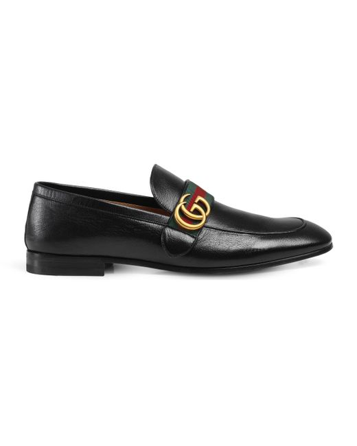 Gucci - Black Leather Loafer With Gg Web for Men - Lyst