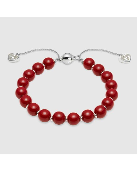 Gucci | Red Bracelet With Wooden Beads | Lyst