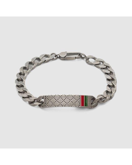 Gucci   Metallic Diamante Motif Id Bracelet for Men   Lyst