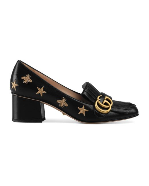Gucci Black Embroidered Leather Mid-heel Pump