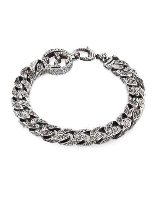 Gucci - Metallic Interlocking G Chain Bracelet In Silver - Lyst