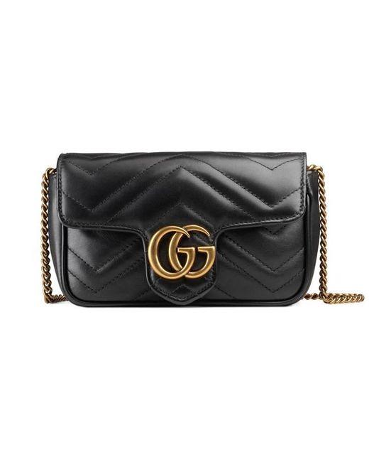 Gucci - Black GG Marmont Matelassé Leather Super Mini Bag - Lyst