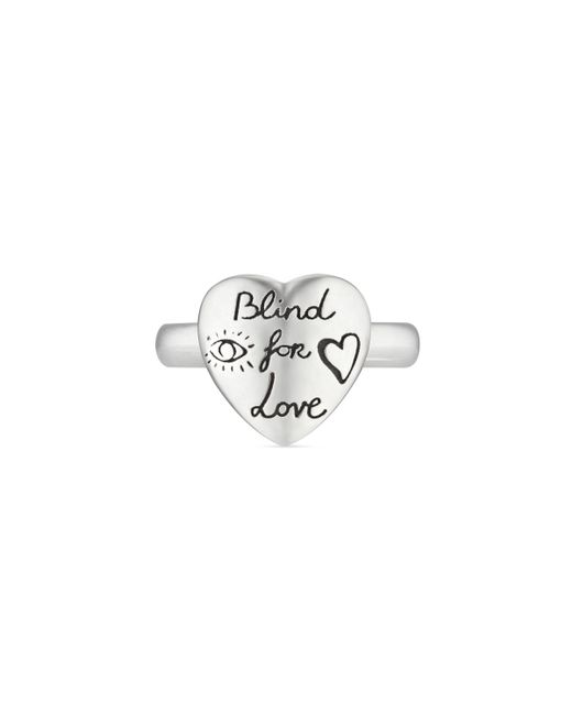 Gucci - Metallic Blind For Love Heart Shape Sterling Silver Ring - Lyst