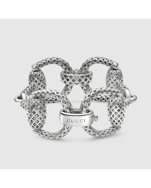 Gucci | Metallic Sterling Silver Horsebit Bracelet | Lyst