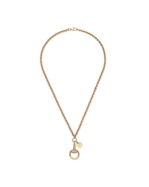 Gucci | Metallic Diamond Horsebit Necklace | Lyst